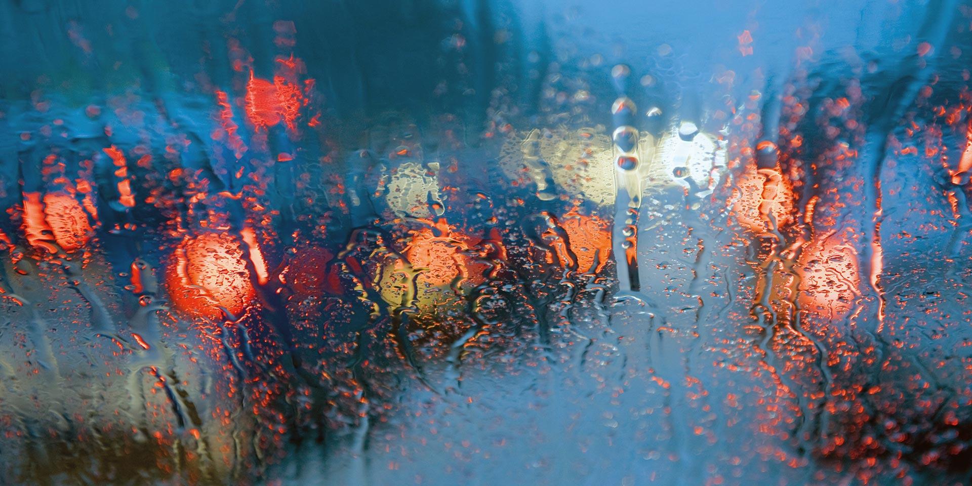 Rain on wind shield